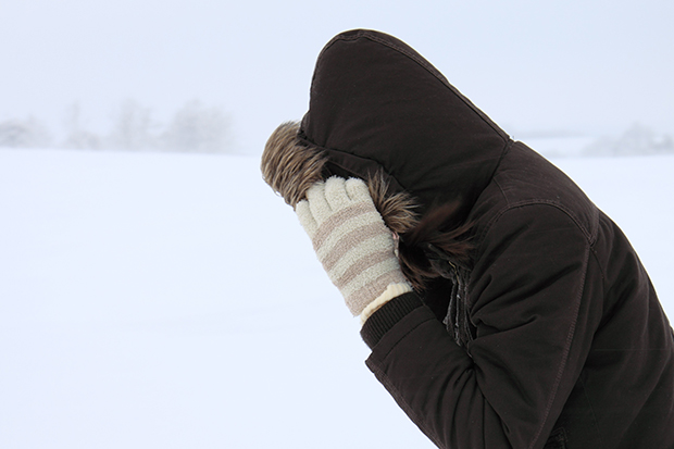 Person outside in cold weather