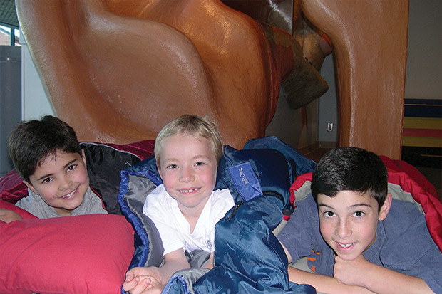 Three boys at OMSI camp-in