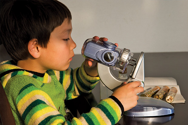 Young student looking through a microscope