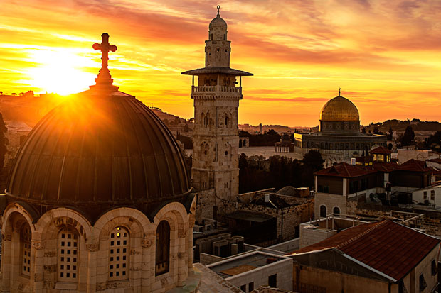 Image of Jerusalem at sunset.