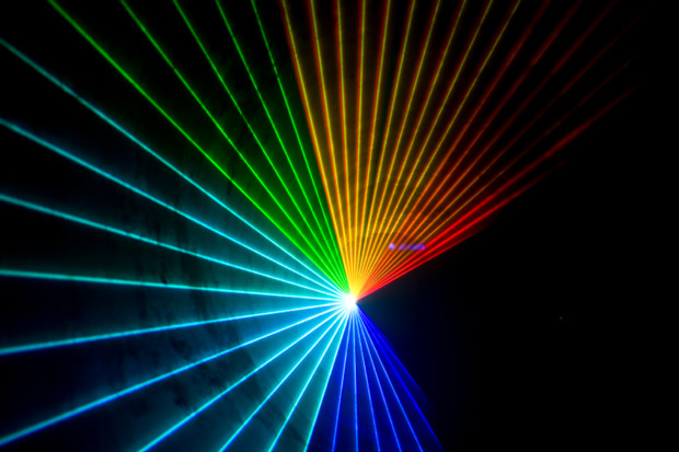 Laser light shows feature intense colors set to music ranging from