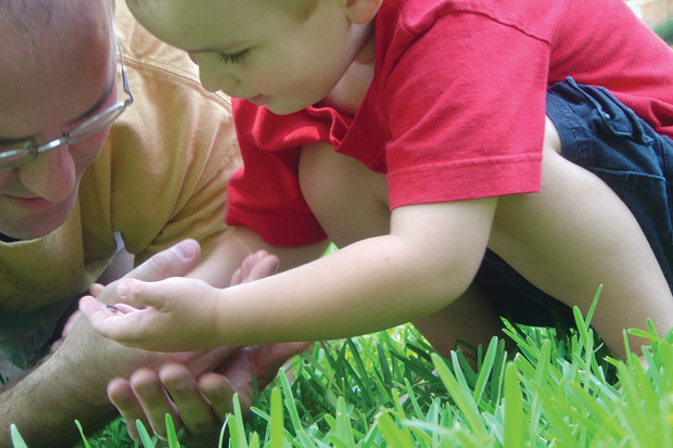 Young boy exploring grass with adult