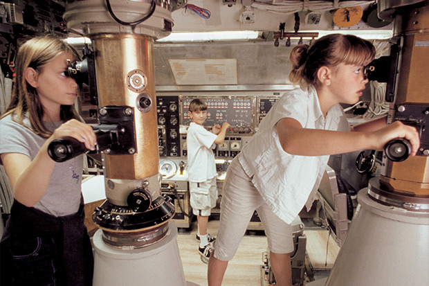 Young students on submarine