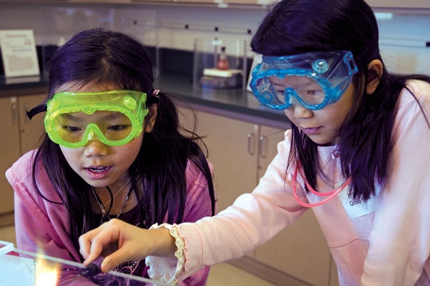 Students exploring chemistry
